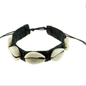 Adjustable Leather/Cowrie Shell Beads Bracelet